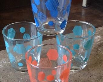 Atomic Hazel Atlas Sour Cream Half Pint Glass Tumbler Set of 4 Orange Turquoise Blue MCM
