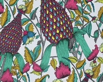 Studio KM Fabric Yardage FreeSpirit The Garden of Earthly Delights Pineapple Teal PWKM001.8TEAL