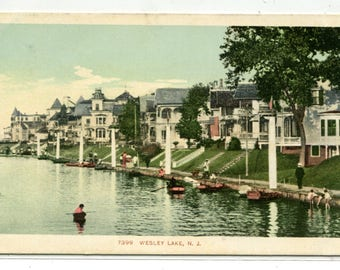 Wesley Lake Asbury Park New Jersey 1907c postcard