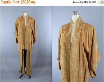 SALE - 1970s Vintage Silk Kimono Robe / Wedding Dressing Gown Lingerie / Downton Abbey Art Deco / Light Brown Ombre