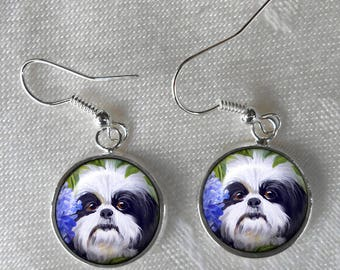 Black & White Shih Tzu Earrings ~ Birthday Gift ~ Pet Keepsake ~ Gifts Under 10 ~ Pet Keepsake