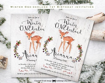 Winter Birthday Invitation. Christmas Birthday Invitation. Winter Onederland. Baby's 1st birthday,First Birthday Party Invitation