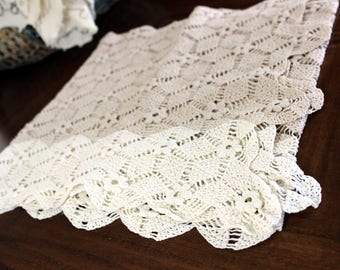 Two Tone Ecru, Hand Crochet Runner, Crocheted Table Scarf, Hand Made, Vintage Linens 13983