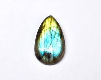 Blue Golden Labradorite Tear Drop Cabochon Natural Gemstone Flat Back High Quality Jewelry Supply - 30.2 x 17.8 mm - 24.4 ct - 170804-01