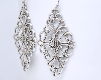 Antique Silver Filigree Earrings, Art Deco Earrings, Filigree Earrings, Large Earrings, Art Deco Jewelry, Victorian Jewelry, Vintage Style