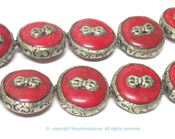 1 Bead - Reversible Large size Tibetan silver encased red crackle resin dorje vajra symbol  bead  - BD524C