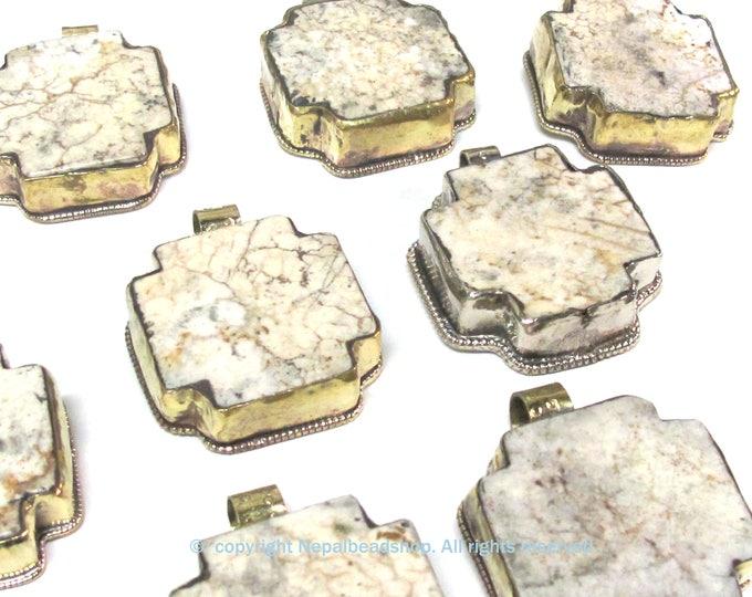 Tibetan Nepal howlite stone cross pendant set on brass with carving on reverse side  - PM581CB