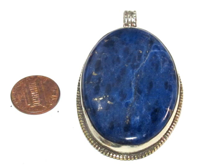 OOAK Tibetan Big large Oval shape lapis lazuli gemstone pendant from Nepal with flower carving on reverse side - PM581AC