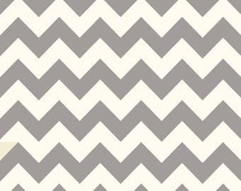 Laminated Cotton aka Oilcloth HEAVYWEIGHT splat mat Gray and Ivory chevron, choose your size
