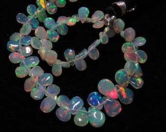 Welo Ethiopian Opal - AAAAAAA - High Quality Full Color Strong Flashy Fire smooth Pear Briolett - size - 3x5 - 7x10 mm - 8 inches Long