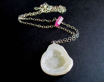 Raw Pink Tourmaline, Geode Druzy Sterling Silver Necklace