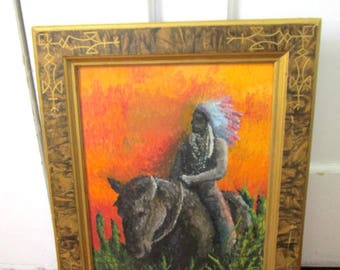 Original Signed Painting - Chief on a Horse