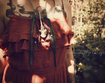 Wildflowers - deer bones, salvaged leather, recycled silk