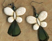 ON SALE 50% OFF Butterfly Earrings - White Earrings with Peacock Feather - Feather Earrings -  Abs Beads - R47