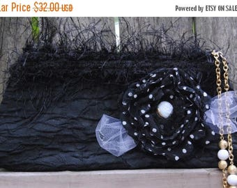 ON SALE Evening Bag -  Black Clutch with Beaded Wrist Handle - After Five Clutch with Vintage Polka Dot Singed Flower - Vintage Glass Button