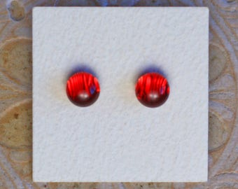 Dichroic Glass Earrings, Red  DGE-1199