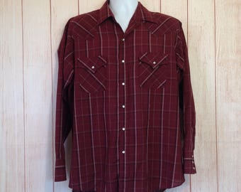 Vintage Plains Western Wear Maroon Plaid Pearl Snap Button Long Sleeve shirt COuntry Mens L