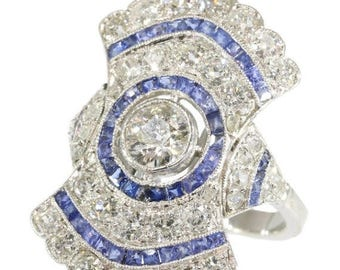 ON SALE Fine diamond and sapphire Art Deco engagement ring platinum old European cut diamond blue cut sapphires 1920s