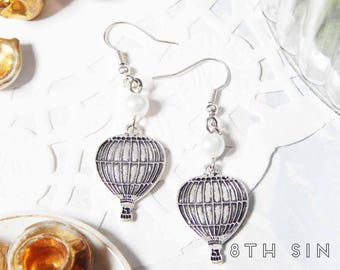 Antique Silver Hot Air Balloon Earrings, Earrings, Silver Dirigible Earrings, Steampunk Hot Air Balloon Earrings, Silver Balloon Earrings