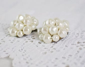 Pearl Cluster Clip On Vintage Earrings
