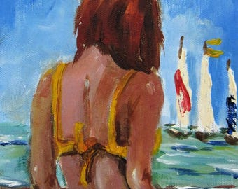 Beach Diva and Sailboats original oil painting Art by Delilah