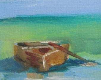 Row Boat seascape  Aceo artist trading card original miniature oil painting Art by Delilah