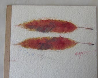 Vintage Original Signed Watercolor of Two Quince Leaves by Ron Wagner