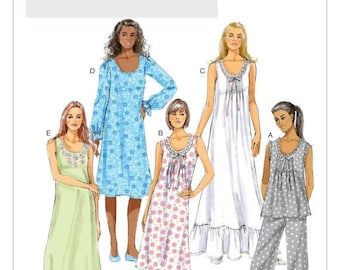 On Sale Sz Xsm/Sml/Med - Butterick Sleepwear Pattern B5792 - Misses' Ruffled Top, Gowns & Pants - Ladies Nightgown/Loungewear/Pajamas Patter