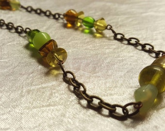 Antiqued Brass and Green Glass Bead Necklace