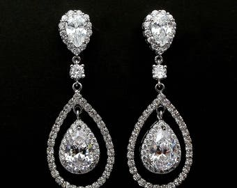 bridal jewelry wedding earrings bridesmaid gift prom pageant party Clear white teardrop cubic zirconia teardrop micropave rhodium halo post