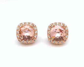 bridal wedding jewelry bridesmaid gift christmas prom square halo cz post clip rose gold earrings swarovski vintage rose crystal rhinestone