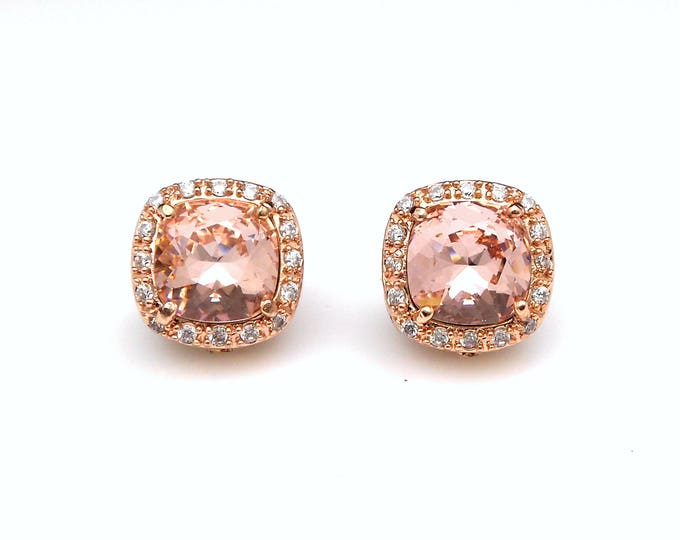 bridal wedding jewelry bridesmaid gift christmas prom square halo cz post clip rose gold earrings swarovski vintage rose crystal rhinestone