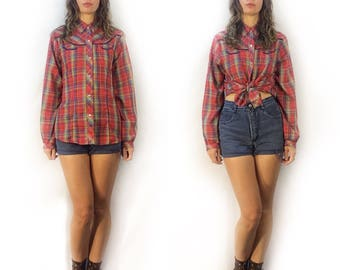 Vintage plaid pearl snap western button shirt // 70s 80s retro snap up blouse  //  southwestern festival concert hipster rocker