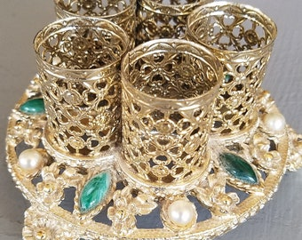 Hollywood Glam Lip sTick Holder Caddy For You Vanity Faux Pearls & Emeralds Holds 5