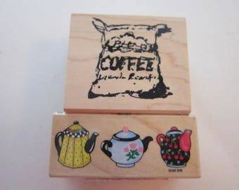 2 rubber stamps - COFFEE sack and teapot border - Mary Engelbreit and Art Impressions