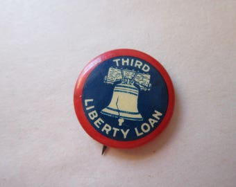 vintage pin back button - Third Liberty Loan - liberty bell pin
