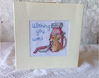 Get Well Soon Mouse Cross Stitched Card