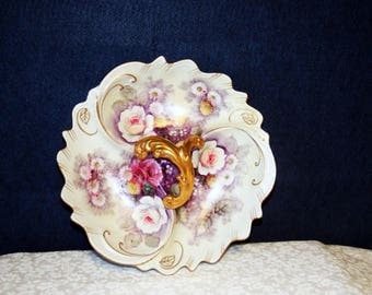1930's Gorgeous Japan hand painted dish purple and white with gold trim