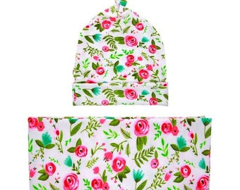 Swaddle Blanket Headband beanie 3 Piece set Baby Girl Newborn Sleep baby gift new mom infant wrap stretchy cotton pink rosebud