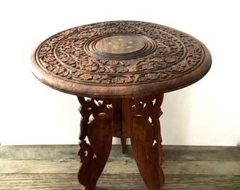 Vintage India Carved Wood Table, 1960u0027s Floral Carved And Inlaid, Three Leg  Indian Table