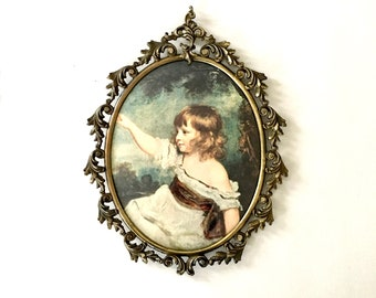 Gold Oval Ornate Metal Frame with Victorian renaissance print / Gilded oval frame / Italian style Metal Oval Frame with Glass