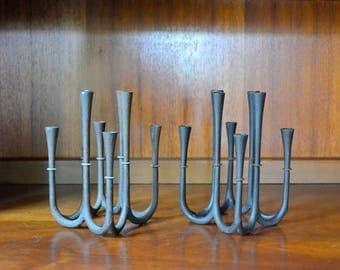 vintage midcentury modern cast iron dansk candle holders / black cast iron candleholders / danish modern home