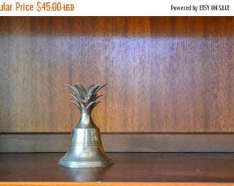 CIJ SALE 25% OFF vintage silver plated metal pineapple bell / metal pineapple / vintage home decor
