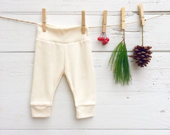Solid Color Baby Pants, Baby Leggings, Knit Baby Pants, Cream Baby Leggings, Gender Neutral Baby Boy Clothes, Baby Girl Clothes