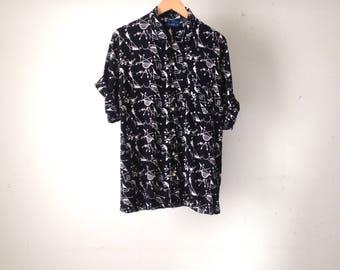 VERSACE style 90s seinfeld KRAMER button up shirt