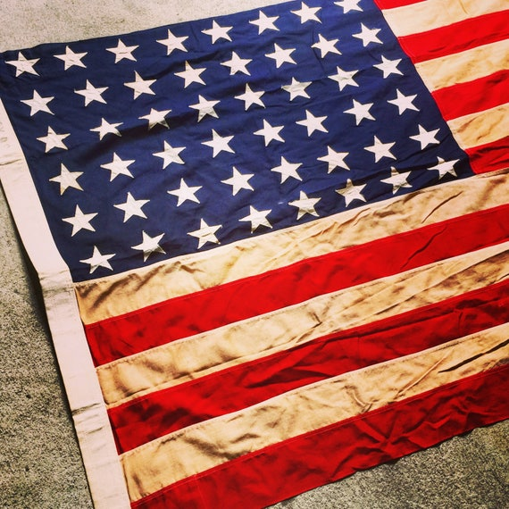 "48 Star Flag / American Flag / Linen Flag / 3.5' X 6' 8"" / Charming Creamy Tone"