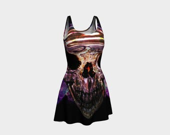 Crystal Skull Skater Dress | Size XS S M L XL | Bold Design Pattern | Party Dancing Ice Roller Skating | Short Fitted Sleeveless Mini Dress