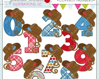 SALE Cowboy Numbers Cute Digital Clipart for Commercial or Personal Use, Cowboy Hat Number Graphic