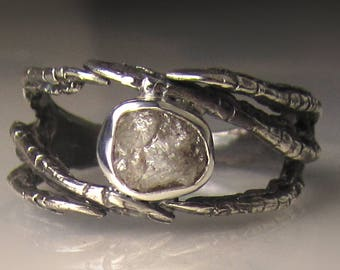 Raw Diamond Talon Ring in Recycled Sterling Silver, Diamond Claw Engagement Ring