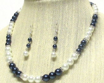 "18"" White and Navy Glass Pearl Wedding Necklace Set"